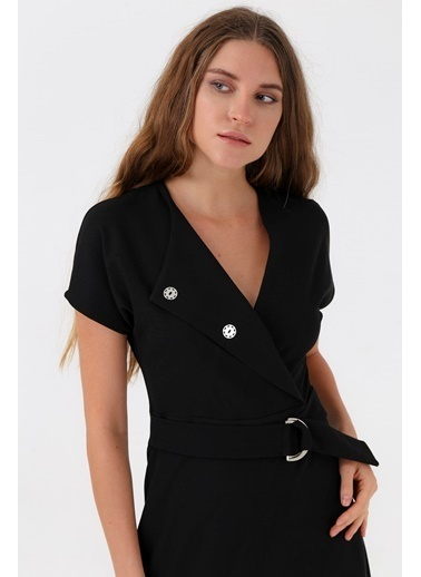 Jument Düğmeli Kiloş Elbise -Siyah Siyah
